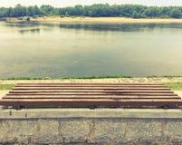 Bench on the Vistula embankment Stock Images