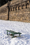 Bench on the Vistula embankments in Krakow, Poland Stock Photography