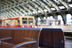 Bench Waiting At The Train Station Royalty Free Stock Photography