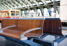 Bench waiting at the train station. In Berlin Royalty Free Stock Photography