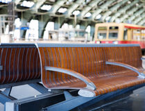 Bench waiting at the train station. In Berlin Stock Photography