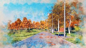 Bench on walkway in autumn park watercolor sketch royalty free illustration