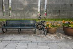 Bench on the walkway. Of Hiroshima city, Chugoku region, Japan royalty free stock image