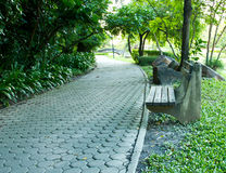 Bench and walkway in a public park Royalty Free Stock Photo