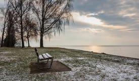 Bench. Water. Leman. Sunrise. Lake. Color. Sky stock photo