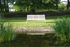 Bench and water Stock Photo