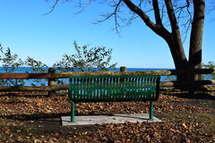 Bench by the water. Quite bench by the water Royalty Free Stock Photo