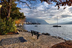 Bench on the waterfront Royalty Free Stock Image