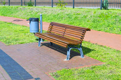 Bench. On the waterfront of lake superior in Kaliningrad Stock Photo