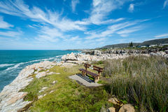 A bench for Whale watchers at Hermanus, South Africa. A bench for Whale watchers at Hermanus in South Africa Royalty Free Stock Photography