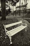 Bench. White bench in the park Royalty Free Stock Photography