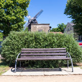 Bench and windmill in werder (havel) Stock Image