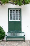 Bench and window at Drosdy in Swellendam Royalty Free Stock Image