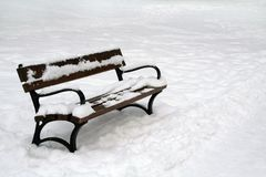 Bench in winter Royalty Free Stock Photo