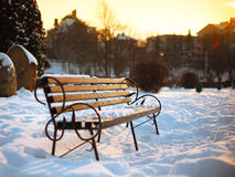 Bench in the winter city park Royalty Free Stock Photo