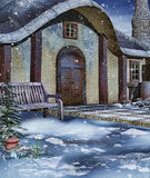 Bench by a winter cottage Royalty Free Stock Photo