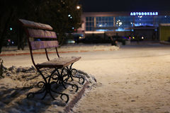 Bench Winter Night Stock Image