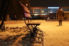 Bench Winter Night Stock Photo