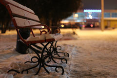 Bench Winter Night Stock Images