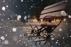 Bench Winter Night royalty free stock photography