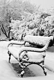 Bench in winter park. Snow covered bench in a park Royalty Free Stock Image