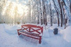 Bench in winter park on sunny day. fisheye distortion lens. Bench in a winter park on a sunny day. fisheye distortion lens stock photo