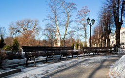 Bench in winter Riga park Royalty Free Stock Photography