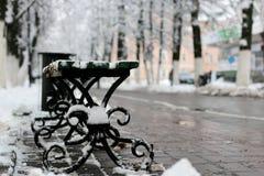 Bench winter sidewalk Stock Photo