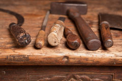 Free Bench With Grungy Tools Stock Photos - 19575543