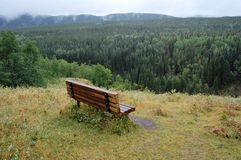 Bench With River Valley View Stock Image
