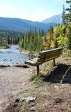 Bench With River Valley View Royalty Free Stock Photos