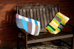 Bench  Womens Institute Yarn Bombing Stock Image