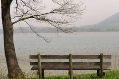 Bench. Wooden bench at the bavarian Tegernsee Stock Photos