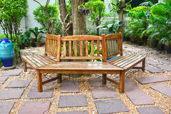 Bench wooden in garden. Stock Photo