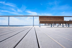 Bench on wooden Pier, background Stock Photography
