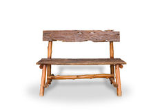 Bench. Wooden. of rough planks and logs. rustic bench of ecologi Royalty Free Stock Images
