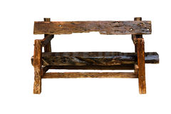 Bench. Wooden. of rough planks and logs. rustic bench of ecologi Stock Images