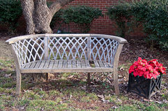 Bench in Yard At Christmastime Stock Photos