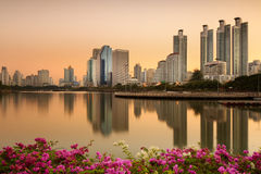 Benchakitti Park at Sunrise. Lake at the Benchakitti Park in Bangkok Benjakiti Park is a park in honor of Her Majesty Queen Sirikit Royalty Free Stock Photography