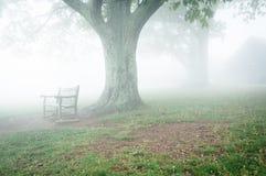 Benche ed albero in nebbia, dietro Dickey Ridge Visitor Center in SH fotografie stock