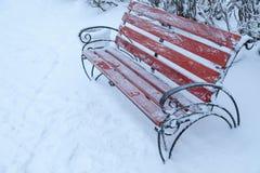 Benche i vinter parkerar, snönedgångar som är utomhus- Royaltyfria Bilder