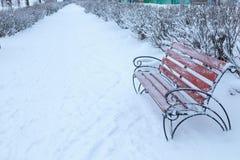 Benche no parque do inverno, neve cai, exterior Fotos de Stock