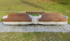 Benches. Photo of a group of benches in the park in autumn Stock Images