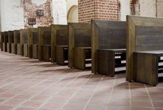 Benches. In the church Stock Photos