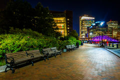 Benches along the Harborwalk at night in Boston, Massachusetts. Royalty Free Stock Photos