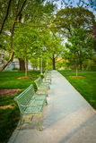 Benches along a path at the Capitol Complex in Harrisburg, Penns Stock Photography