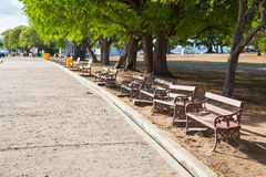 Benches along the path. Stock Photography