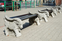 Benches on animal statues Stock Photography