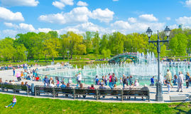 The benches around Tsaritsyno fountains Stock Images