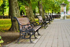 Benches in autumn park Royalty Free Stock Photos